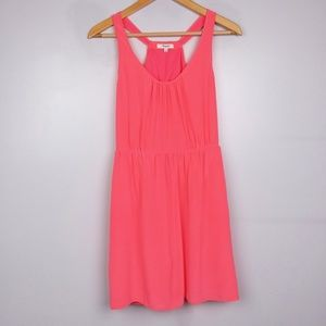 Madewell 100% Silk Neon Pink Island Mini Dress